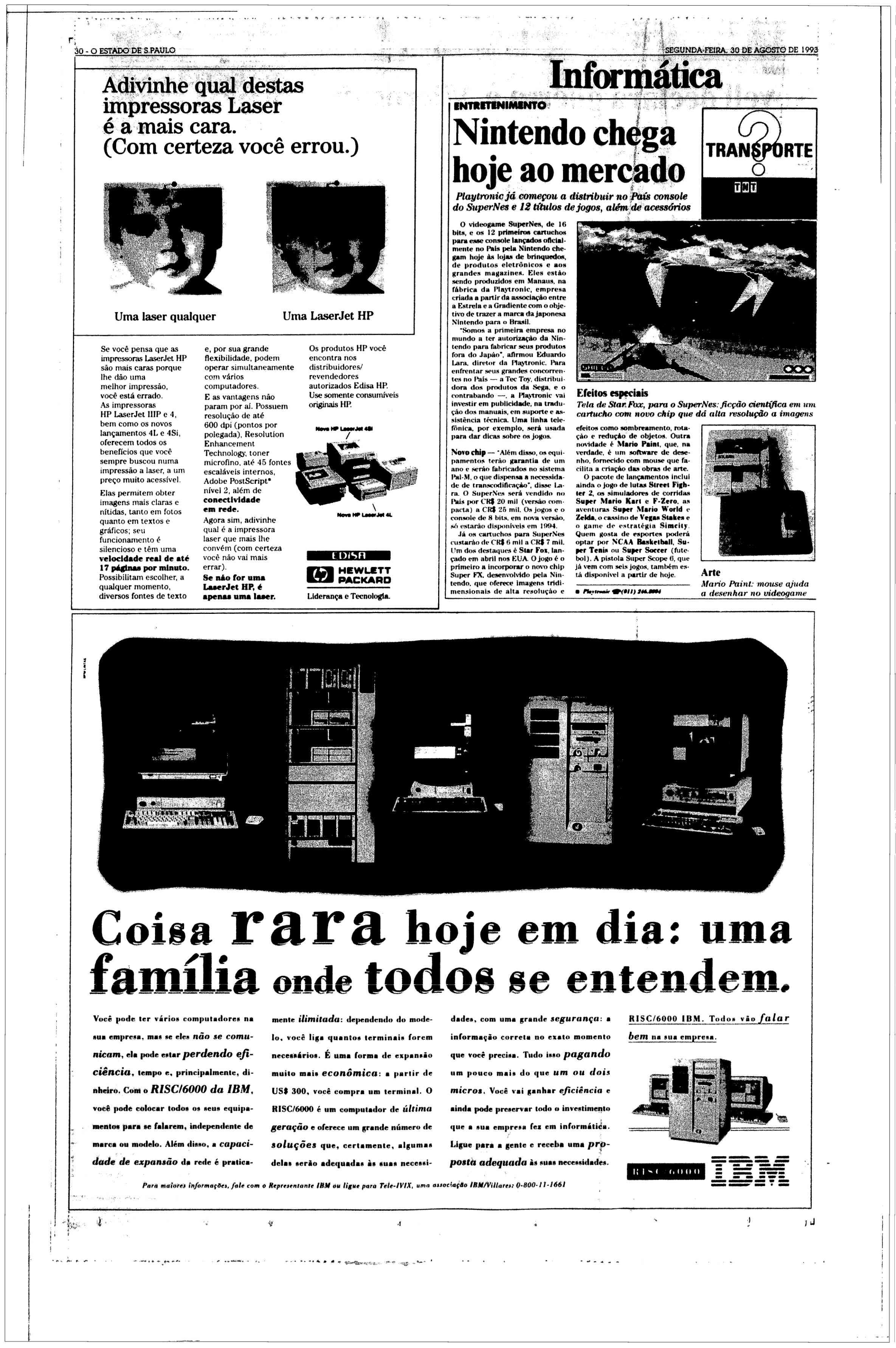 Recorte de jornal informando a chegada do Super Nintendo no mercado brasileiro